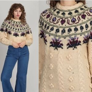 Vintage 80's Woolrich Cable knit Floral Sweater